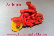 Auburn Rubber Models / Rubber - Soft Vinyl - Model Cars & Bikes (Red, Green, Blue, Yellow, Orange) Auburn also made Cowboys, Horse Carriage, Toy Soldiers, Farm Animals, Buildings & Trees
