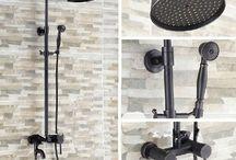 """GOWE Oil Rubbed Bronze 8""""Rain Shower Faucet Swivel Bathtub Faucet Shower Column Set"""