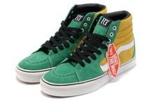 Van Men & Women Doren Sk8-Hi Slim Shoes Green/Yellow/Black Women