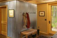 Corrugated iron feature walls
