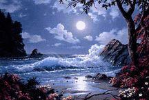 Schema punto croce al mare di notte