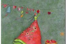 Donnine colorate disegnate