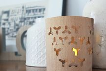 VASARFIA Illumination candle-light collection / A tealight in a glass covered by VASARFIA Illumination bring it's folklore motives to life! A cover for 8-10 cm (3,2-4 in) diameter glasses made of veneer. Flatpack.