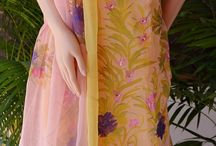 Hand Painted Lemon Yellow Chamundi Chiffon Unstitched Full Suit / Create a new trendy wardrobe with our collection of floral hand painted summer suits.Ready to stitch suits now for a soothing summer. HURRY, limited collection offered  @ thesaffronsaga.com