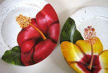 cerâmicas  cm hibiscos