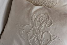Vintage French Linens / Beautiful old linens, embroidered or not, some made into cushions and runners.