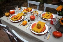 Halloween Dinner / Halloween outdoor dinner. Lots of orange and yellow. Pumpkins everywhere!:) Time for celebration with special tabletop, tablesetting. Plates, glass, candles, flowers - all cutlery on the table. By Luna & The Table