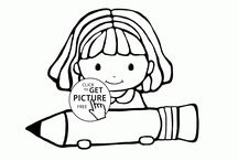 School coloring pages / back to school coloring pages, first day of school coloring pages, school supplies coloring pages, school bag coloring pages