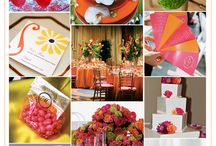WEDDING THEME: Coral and Grey / Inspiration board for wedding theme in colours of coral and grey