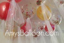 Creative Wedding Balloon Decor / Glitter Balloons with Tulle Ribbon
