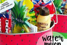 Pool themed gift basket