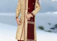 Designer Sherwani / Sherwani is a fusion of a Kurta and the British Frock Coat, mostly worn by Grooms in the Weddings. Our exclusive collection of designer Sherwani for men can be complemented with a Stole and traditional Mojris.