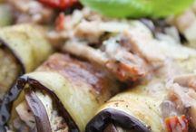 Roules aubergines poulet champignons