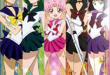 Sailor chibi moon,sailor uranus,sailor neptune,sailor pluto and sailor saturn.