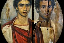 Faiyum portraits / Mummy pictures from an ancient roman town i Egypt.