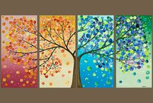 DIY paintings / 4 trees