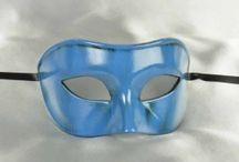 Turquoise and Aqua Ball Masks / Masquerade ball masks in shades of turquoise. Including aqua, teal and turquoise, these masks are all trimmed with gold or silver glitter and/or braiding