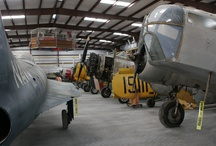 "Golden Hill / Golden Hill is our storage facility where planes await restoration. The name is an homage to the storage facility at the Smithsonian Air & Space Museum which staffers refer to as ""Silver Hill."" / by Fantasy of Flight"