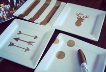 talerzyki, widelczyki, porcelana i szkło