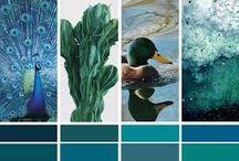 Mariage pêche et bleu canard