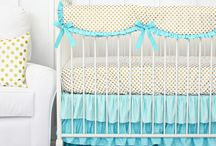 Gold & Aqua Nursery Ideas / Get inspired with our gold and aqua nursery pins! Caden Lane has so many bedding sets that compliment this color combo that we want to show off how you can decorate the whole nursery.