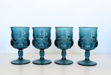 Vintage Glass Goblets /  Colors and styles of goblets we have available to rent.  www.fancylou.com