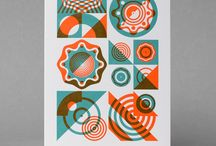 Geometric abstract letterpress cards