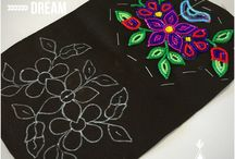 bead work on black fabric