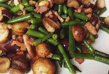 sperziebonen met spekjes en champignons