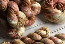 Hand dyed yarns.