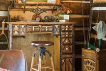 Cabin Decor / Cabin, cottage, rustic abode, lodge, whatever you call it we LOVE them.  Lots of antler, birch bark, twigs, and country comfort abound