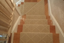 """Stair Runners With Pie Turns & Landings / The standard widths for runners are 27"""" or 30"""", but can be made into any custom size if converting from broadloom. / by The Carpet Workroom"""