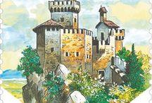 Cod. 643: Europa - Castelli / Valore da €0,95: 2° Torre (Cesta), che sorge sulla vetta più alta del Titano (755 metri s.l.m.), antica torre d'avvistamento già in epoca romana. Valore da €1,00: 1° Torre (Guaita), la maggiore e più antica delle 3 rocche di San Marino, risalente al secolo XI.  Valori: da €0,95 – €1,00 minifogli da 12. Tiratura: 60.000 serie. Stampa: offset a 4 colori Pantone, inchiostro invisibile giallo fluorescente. Dentellatura: 13¼x13. Formato francobolli: 30x40 mm. Bozzettista: Antonio Giuffrida.