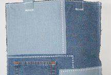 patchwork denim  bag