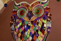 Витражная сова / Витражное пано.сова. С изображение рун