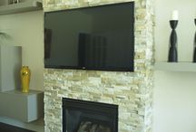 Parsons Interiors Fire Place & Wall untie / Living Room space built-in wall untie custom and stone fire place
