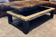 Lifting Couch tables / Repurposed painters scaffold and cowhide