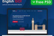 English language school, free psd tamplate. design landing-page