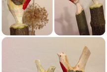 Schnitzen Vögel