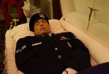 Dead soldiers, firemen, policemen...at funeral homes / Dead men with uniforms
