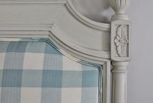 Country check upholstery / re upholster sofa, country, check, buffalo check, light blue and cream, french country, cottage / by Darlene