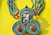 Vintage Style Pendant - Earrings Set For Girls & Womens | Beautiful Handmade Pendants Earring Set / Pendant Earrings Set | Vintage Jewelry | Handmade Tibetan Colorful Jewellery Set For Girls / Women | Pendant Set