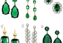 Emerald green jewels / black evening gown