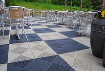 Public floor / Our business area PUBLIC offers a range of different products for public spaces such as outdoor cafés, industrial environments, exhibition halls, pool areas, shops, etc.