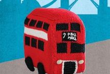 knitted red bus
