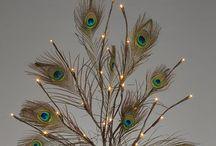 Arreglos con plumas de pavo real