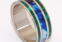 * New* Spring Designs / Hot for Spring 2014 in Titanium Wedding Bands: Color that Pops! Antler and Horn! Turquoise!