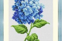 HYDRANGEA-FLOWERS*CROSS STITCH-EMBROIDERY
