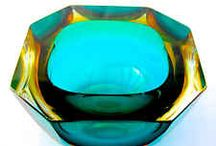 Vintage Murano Faceted Sommerso Glass