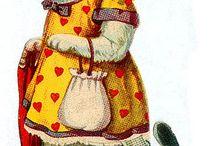 Poes met jurk en tasje / Sprookjes dier
